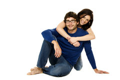 Beautiful couple smiling isolated on a white background Royalty Free Stock Image