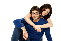 Beautiful couple smiling isolated on a white background Stock Image