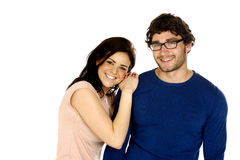 Beautiful couple smiling isolated on a white background Stock Photography