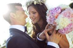 Beautiful couple in the sunlight Royalty Free Stock Photo