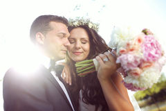 Beautiful couple in the sunlight Stock Photography