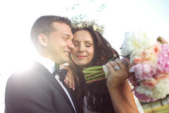 Beautiful couple in the sunlight Royalty Free Stock Images