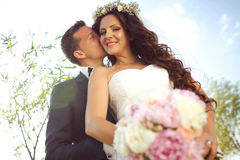 Beautiful couple in the sunlight Royalty Free Stock Photography