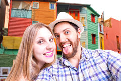 Beautiful Couple taking a selfie in Buenos Aires, Argentina Stock Photo