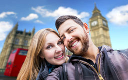 Beautiful Couple taking a selfie photo in London, England Royalty Free Stock Images