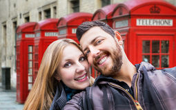 Beautiful Couple taking a selfie photo in London, England Royalty Free Stock Photos