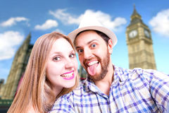Beautiful Couple taking a selfie photo in London, England Royalty Free Stock Photo