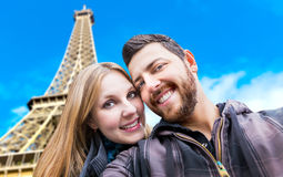 Beautiful Couple taking a selfie photo in Paris, France Stock Image