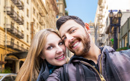 Beautiful Couple taking a selfie photo in San Francisco, USA Royalty Free Stock Images