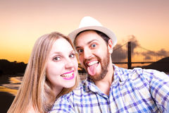Beautiful Couple taking a selfie photo in San Francisco, USA Royalty Free Stock Photo
