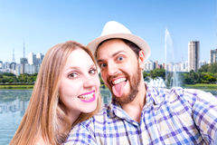 Beautiful Couple taking a selfie photo in Sao Paulo, Brazil Stock Images