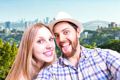 Beautiful Couple taking a selfie photo in Sydney, Australia Royalty Free Stock Images