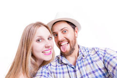 Beautiful Couple taking a selfie photo on white background Stock Photography