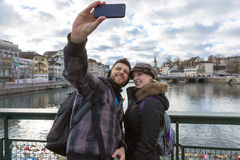 Beautiful Couple taking a selfie photo in Zurich, Switzerland Stock Photos