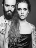 Beautiful couple with tattoo Stock Image