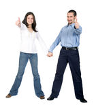Beautiful couple thumbs up Stock Images