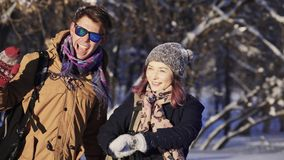 Beautiful couple of tourist in winter stock video footage