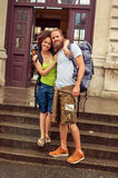 Beautiful couple of tourists in love Royalty Free Stock Image