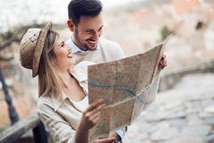 Beautiful couple traveling and sightseeing. Beautiful tourist couple in love traveling and sightseeing Royalty Free Stock Photography