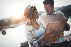 Beautiful couple traveling and sightseeing. Beautiful tourist couple in love traveling and sightseeing Stock Image