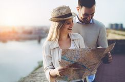 Beautiful couple traveling and sightseeing. Beautiful tourist couple in love traveling and sightseeing Stock Photos