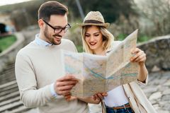 Beautiful couple traveling and sightseeing. Beautiful tourist couple in love traveling and sightseeing Royalty Free Stock Images