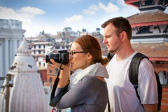Beautiful couple travelling in Kathmandu, Nepal. Stock Photos