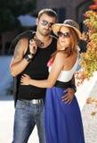 Beautiful couple wearing sunglasses stock images