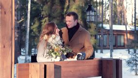Beautiful couple in winter on Valentine`s Day stock video