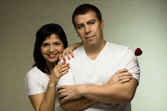Beautiful Couple With Red Heart - Love Concept Royalty Free Stock Images