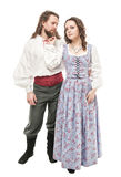 Beautiful couple woman and man in medieval clothes isolated Stock Photography