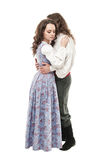 Beautiful couple woman and man in medieval clothes isolated Royalty Free Stock Images