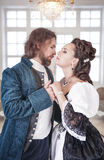 Beautiful couple woman and man in medieval clothes stock photo