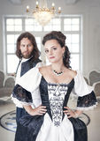 Beautiful couple woman and man in medieval clothes Royalty Free Stock Images
