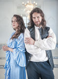 Beautiful couple woman and man in medieval clothes Stock Image