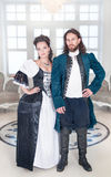 Beautiful couple woman and man in medieval clothes Royalty Free Stock Photo