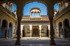 Beautiful courtyard in the Amber Fort palace Royalty Free Stock Images