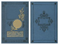 Beautiful cover of a vintage book with floral frame an blank label for your text. Stock Image