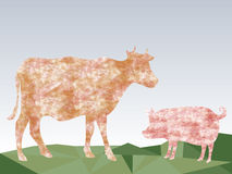Beautiful cow and pig on meadow triangles abstract background Royalty Free Stock Photo