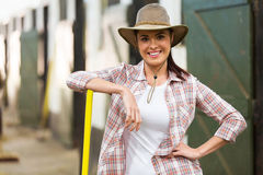 Beautiful cowgirl stables Stock Photo