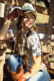 Beautiful cowgirl in stetson. Look away Royalty Free Stock Photography