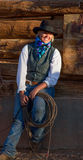 Beautiful Cowgirl in Western Scene Royalty Free Stock Photography