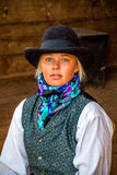 Beautiful Cowgirl in Western Scene Royalty Free Stock Photos