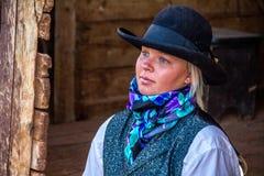 Beautiful Cowgirl in Western Scene Stock Photos