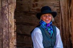 Beautiful Sexy Cowgirl in Western Scene Stock Photo