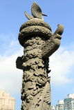 Beautiful crafted stone pillar at Wong Tai Sin temple Stock Images