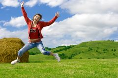 Beautiful crazy girl jumping Royalty Free Stock Photo