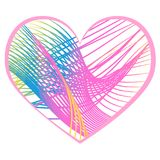 Beautiful creative heart with stripes on a white background Royalty Free Stock Image