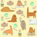 Beautiful creative textiles. Cute cat reads, sleeps, sits, drinks. Wallpaper for a children`s room with a pet, beautiful patterns stock illustration