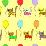 Beautiful creative textiles. Picture of the original kittens on balloons. Wallpaper for the children`s room, pretty pattern. royalty free illustration